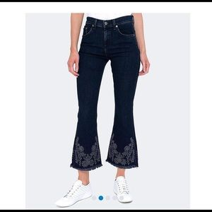 Rag and Bone Embroidered Crop Flare Jeans, Sz. 24